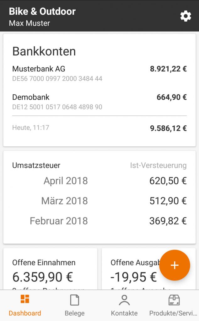 Das Dashboard zeigt Dein  Konto, Wie gewohnt siehst Du Deine Umsatzsteuer-Zahllast auf einen Blick. Die Einnahmen/Ausgaben Übersicht hilft dabei, im Alltag den Überblick zu behalten.