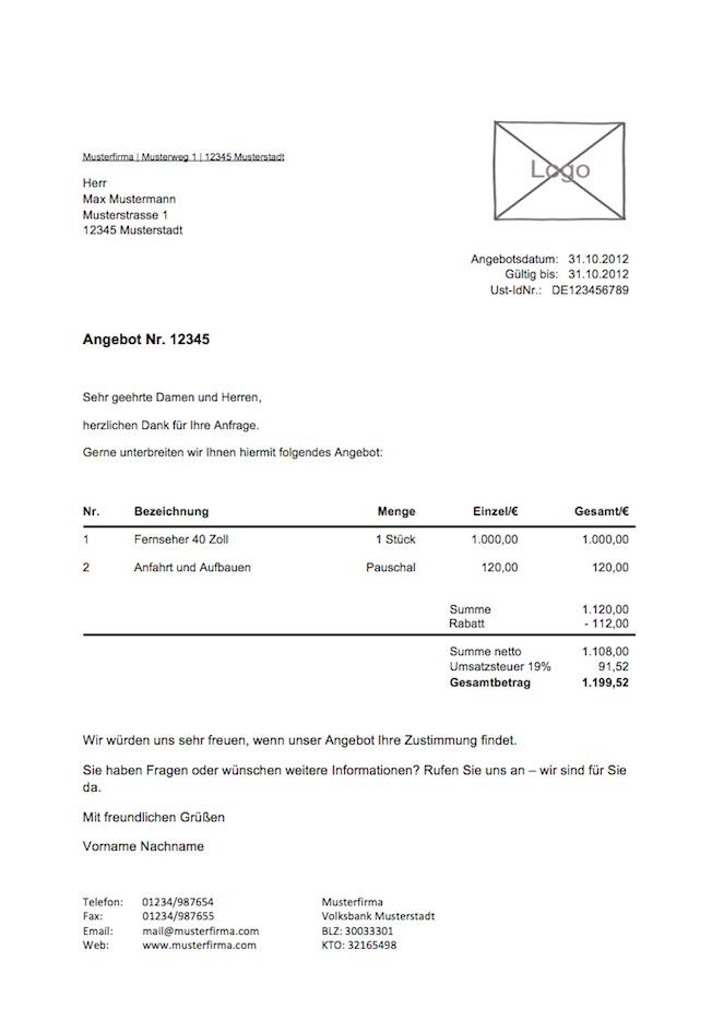 Beispiel Briefe Angebot : Kostenlose angebotsvorlage vorlagen muster zu angebot