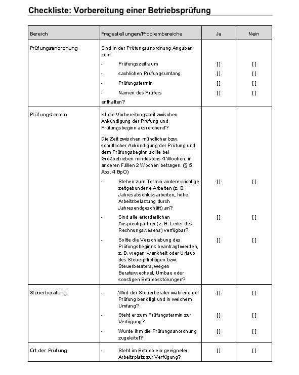 Checkliste für die Vorbereitung zur Betriebsprüfung durch einen Prüfer oder Betriebsprüfer vom Finanzamt