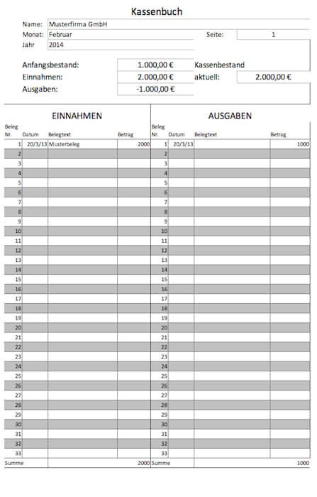 Kassenbuch Vorlagen Gratis Für Microsoft Excel Und Als Pdf Lexoffice