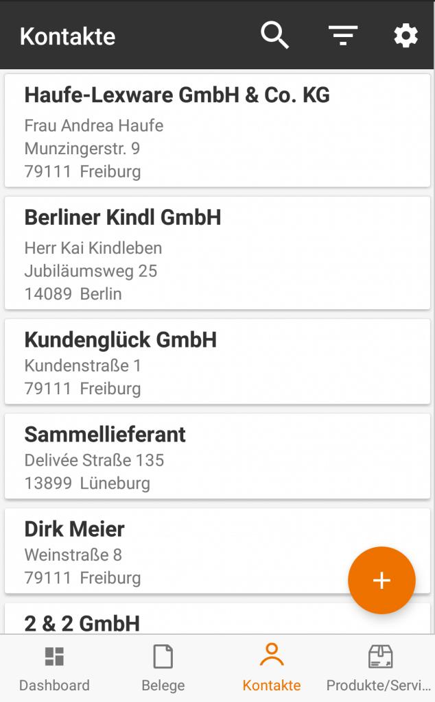 Neue Kontakte können von Dir mit der lexoffice Android-App natürlich ebenfalls erstellt und vorhandene bearbeitet werden.