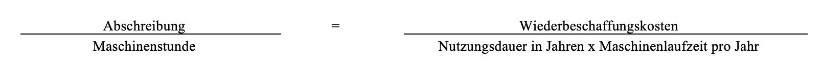 Kalkulatorische Abschreibung pro Maschinenstunde