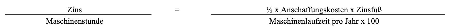 Kalkulatorischer Zins pro Maschinenstunde