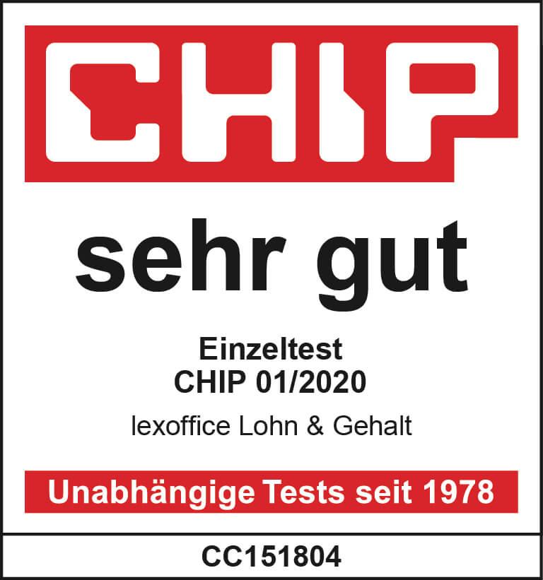 """Testsiegel """"sehr gut"""" von """"Chip"""" für lexoffice Lohn & Gehalt"""