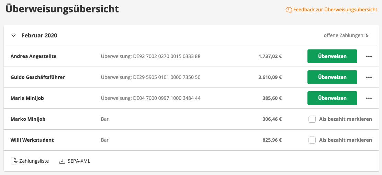 Screenshot aus der lexoffice Lohn & Gehalt: Mitarbeiter:innen nach der Lohnabrechnung bezahlen