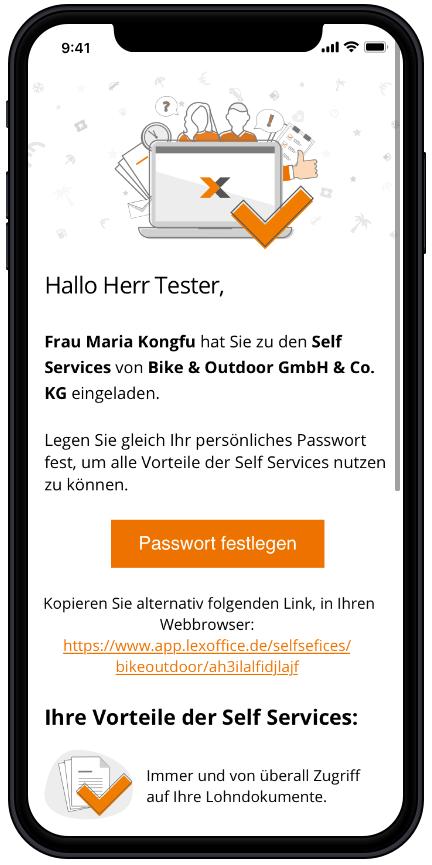Screen: lexoffice Self Service - E-Mail Einladung