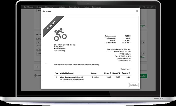 Funktionen Alterntivpositionen Entwurf lexoffice Rechnungsprogramm Buchhaltungssoftware