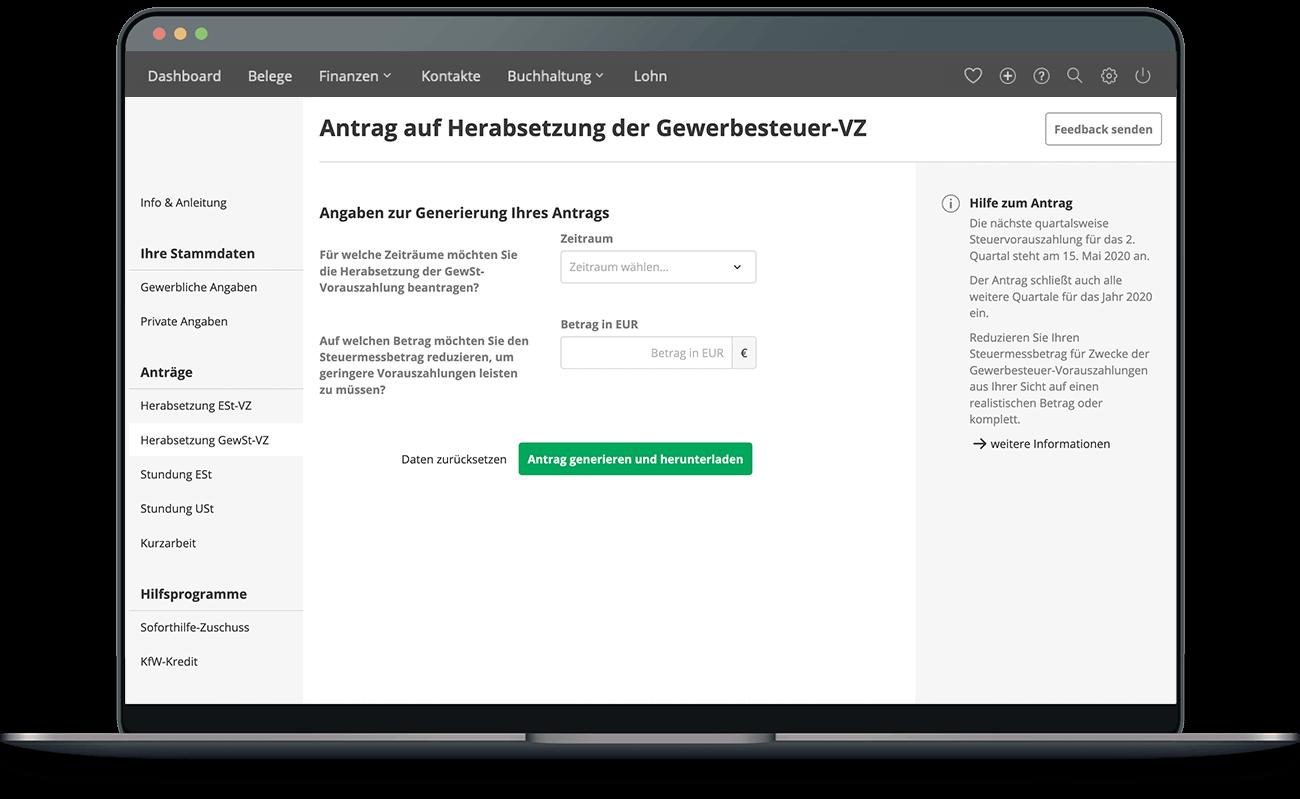 Funktion Antragsgenerator lexoffice Rechnungsprogramm Buchhaltungssoftware