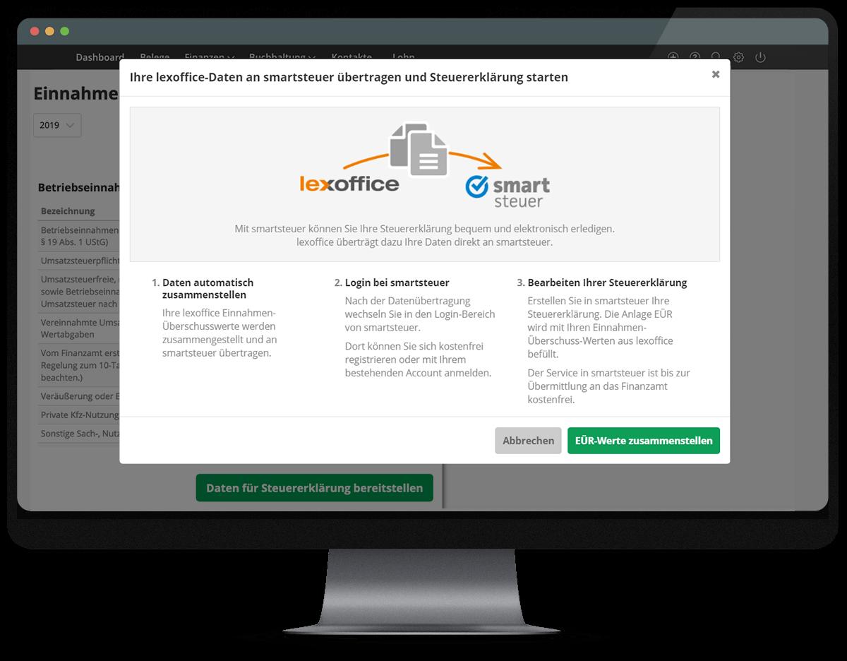 lexoffice-Daten an smartsteuer übertragen und Steuererklärung starten