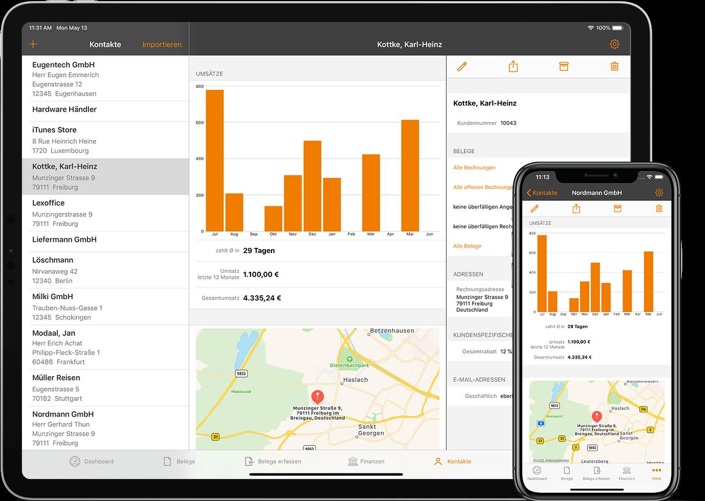 Mit lexoffice Lieferanten- und Kundendaten unterwegs verwalten