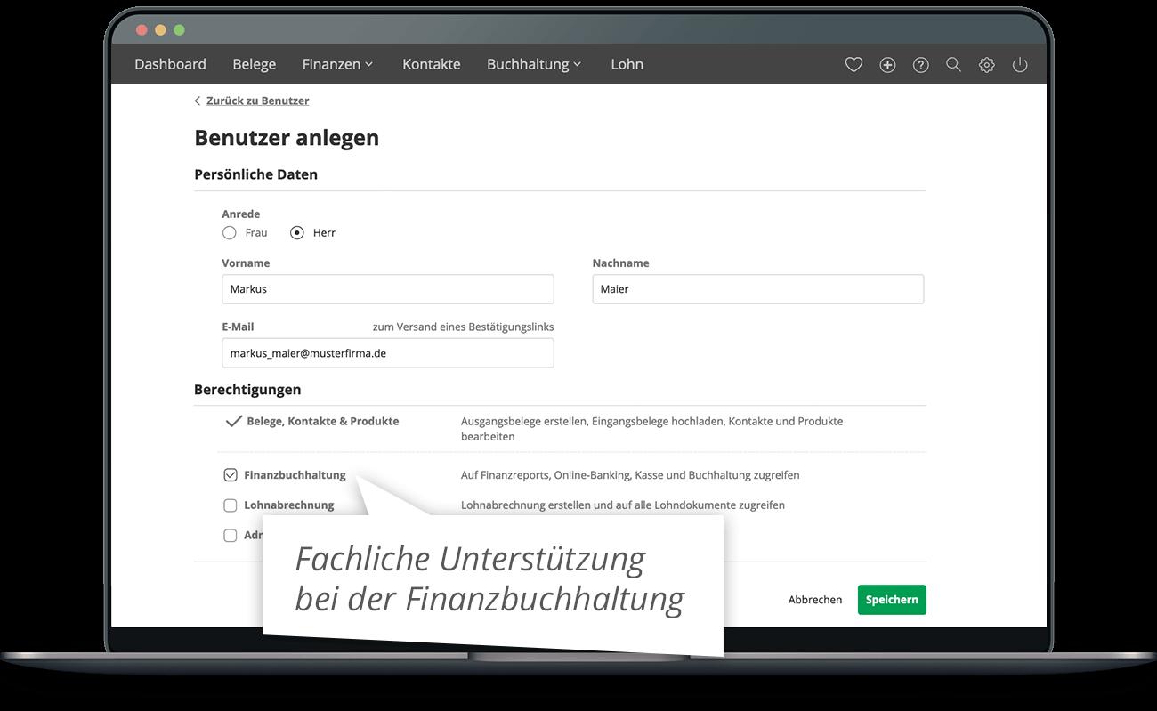 lexoffice Berechtigungen – Benutzer anlegen.
