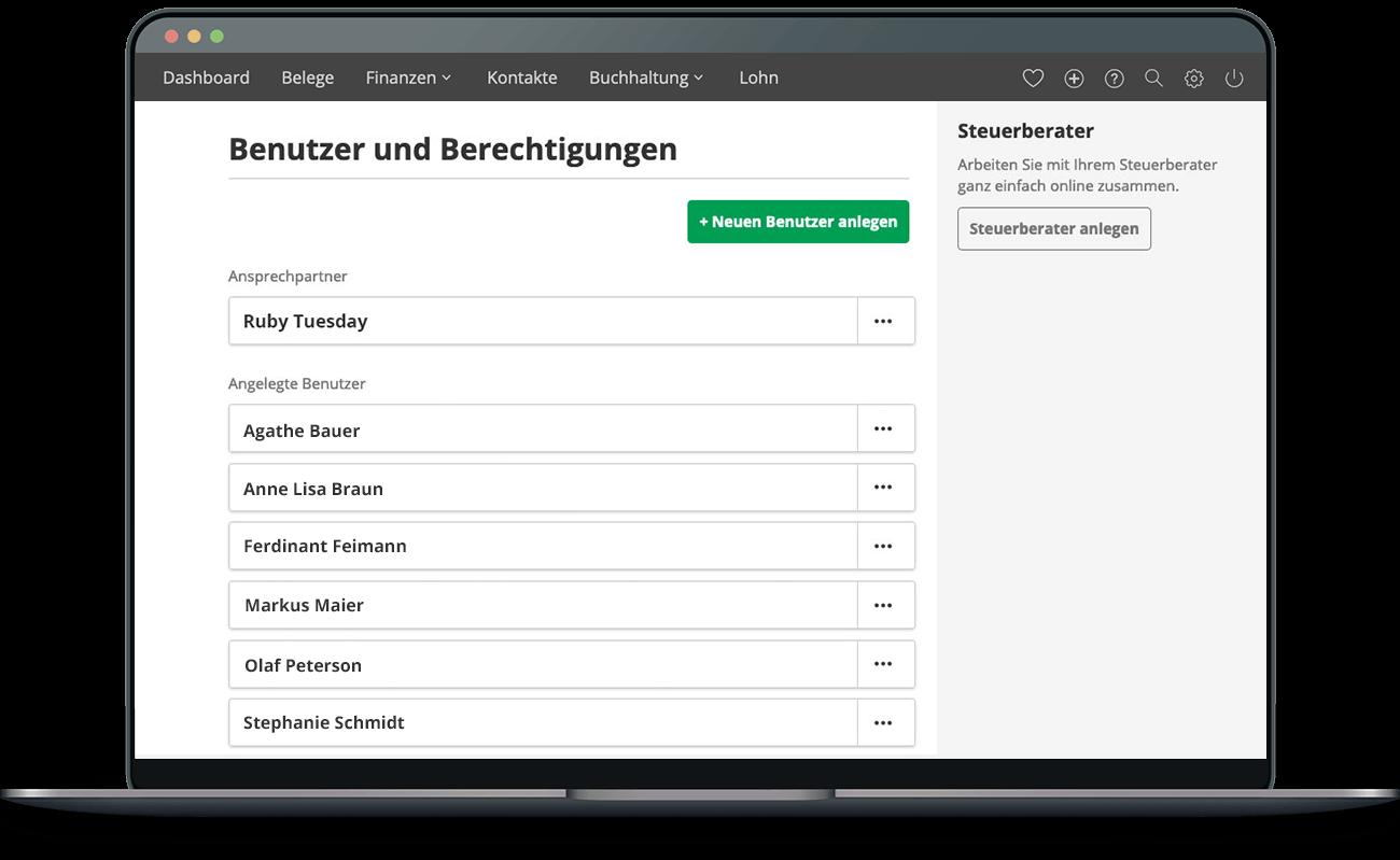 lexoffice Berechtigungen – Mehrere Benutzer anlegen und effizient als Team zusammenarbeiten.