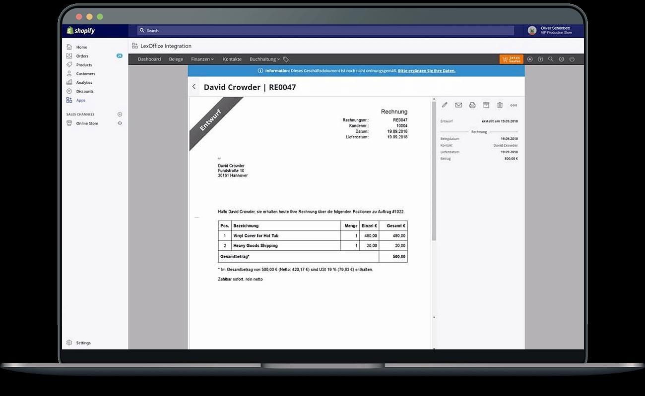 Shopanbindung: lexoffice und Shopify