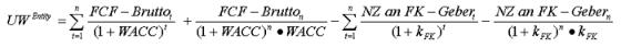 Rechnung Unternehmenswert nach WACC-Konzept
