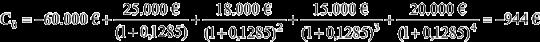 Berechnung des Kapitalwertes mit Zinssatz von 12,85%