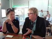 Isabel Blank (Geschäftsleitung Haufe Lexwware) und Cordula Schneider (Kanzleioptimisten/Delfi.net) im Entwicklungsdialog über die Zukunft der Steuerbranche