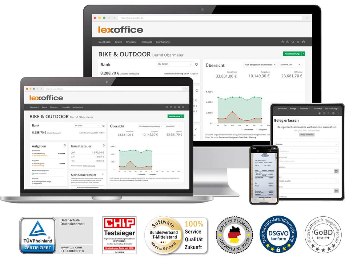 Screens von lexoffice Rechnungsprogramm und Buchhaltung auf Notebook, Tablet und Smartphones