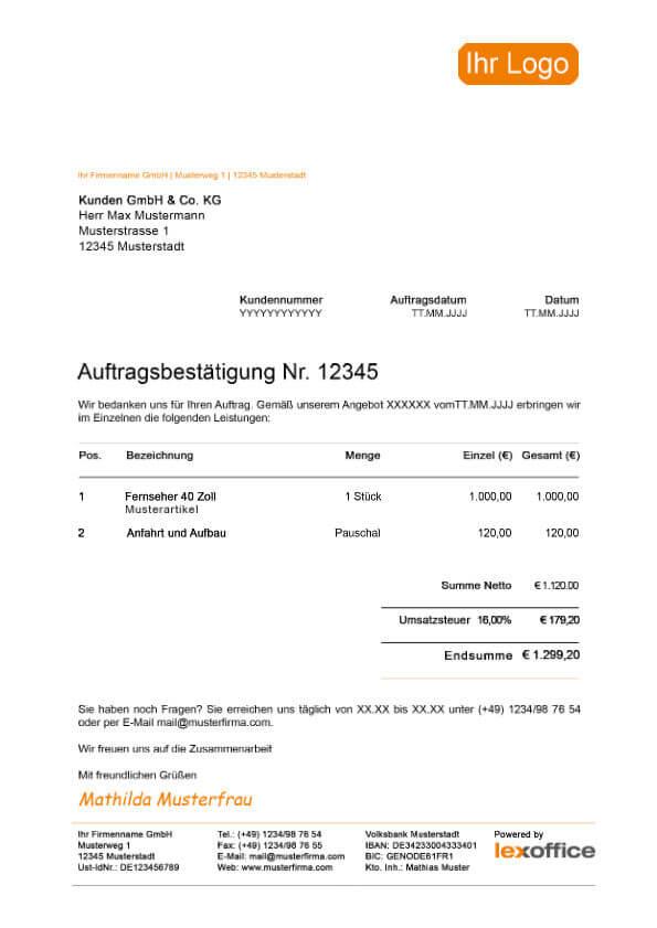 Screen lexoffice Muster Vorlage Auftragsbestägigung (Mehrwertsteuersenkung)