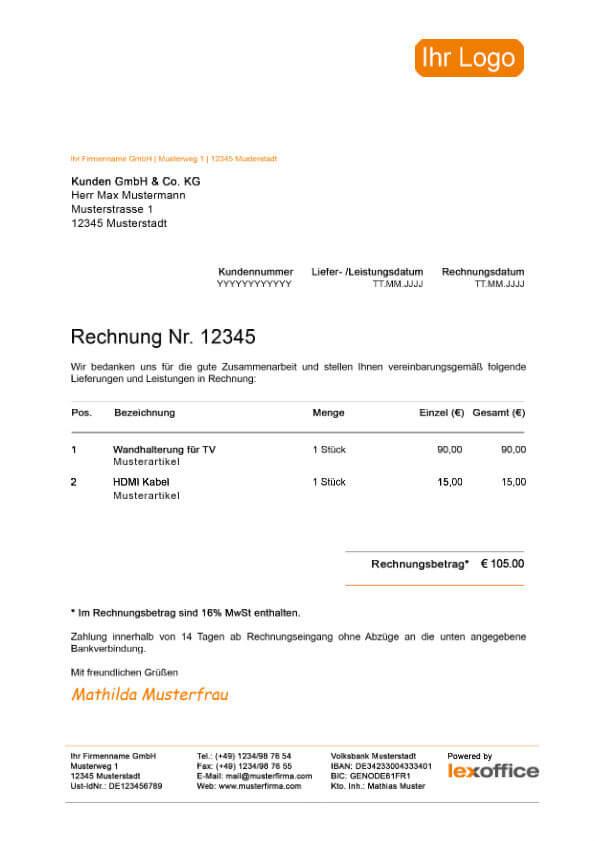 lexoffice Muster Vorlage Kleinbetragsrechnung (Mehrwertsteuersenkung)