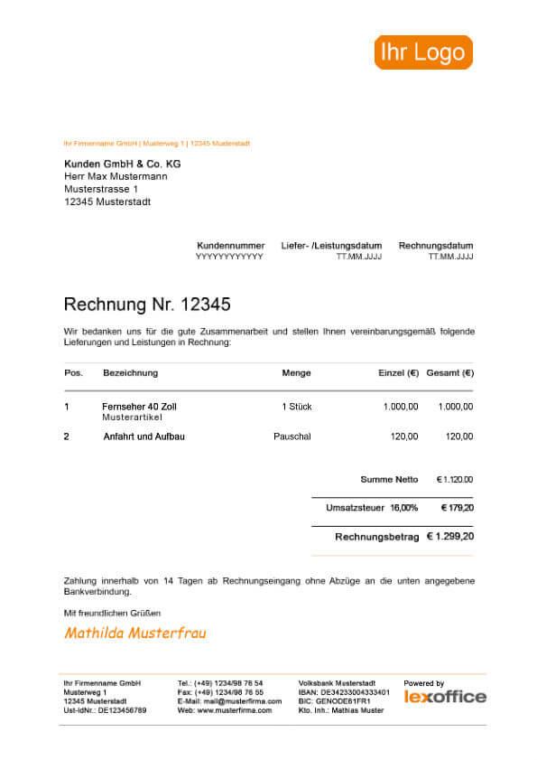 lexoffice Vorlage Muster Rechnung mit Umsatzsteuer (Mehrwertsteuersenkung)