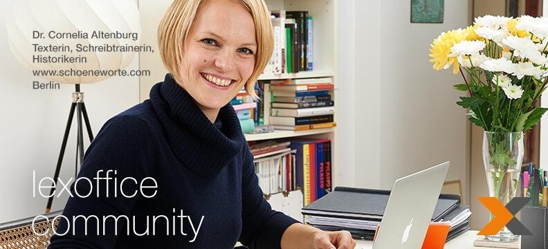 lexoffice Community: Interview (24) mit Dr. Cornelia Altenburg, Schreibtrainerin und Historikerin