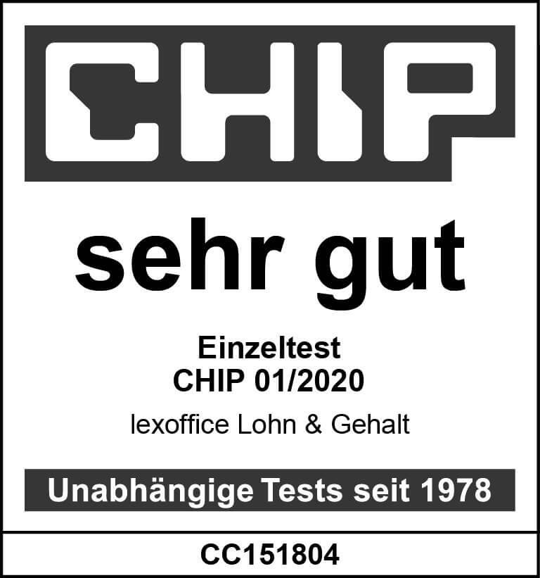 Lohn CHIP Test-Siegel lexoffice Rechnungsprogramm Buchhaltungssoftware