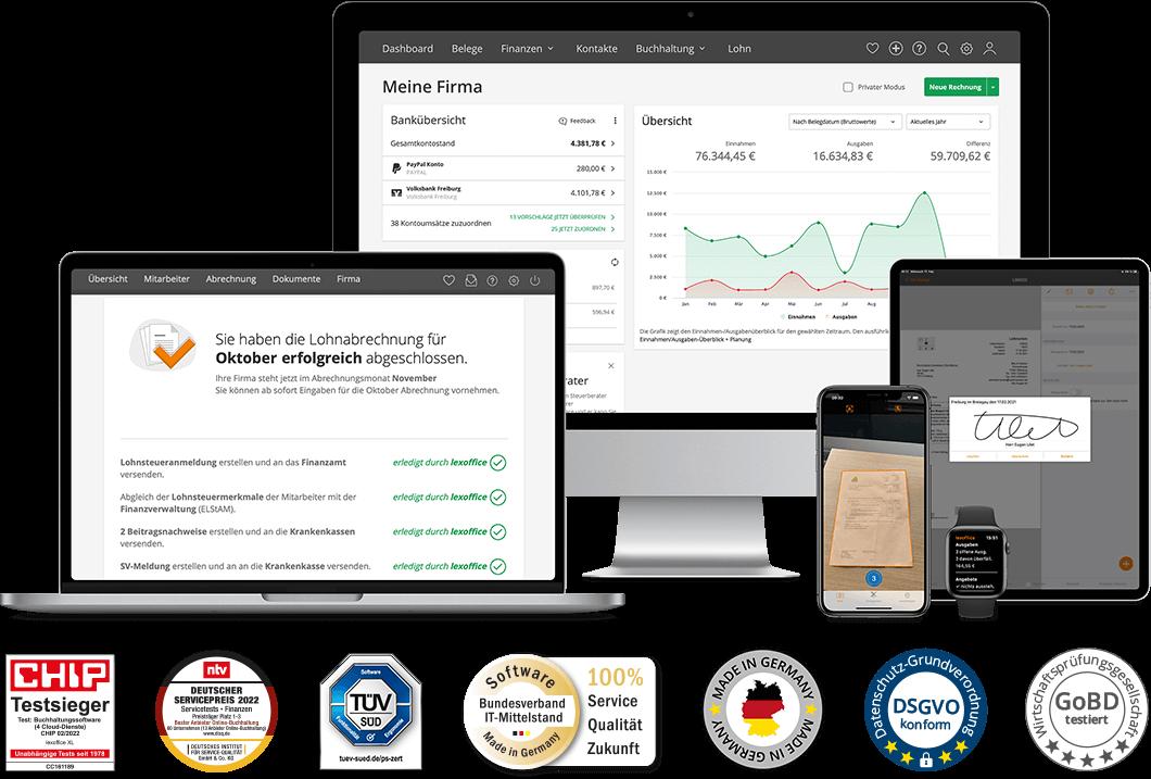 lexoffice Rechnungsprogramm und Buchhaltungssoftware ist auf Desktop, Laptops, Smartphones und Tablets nutzbar.