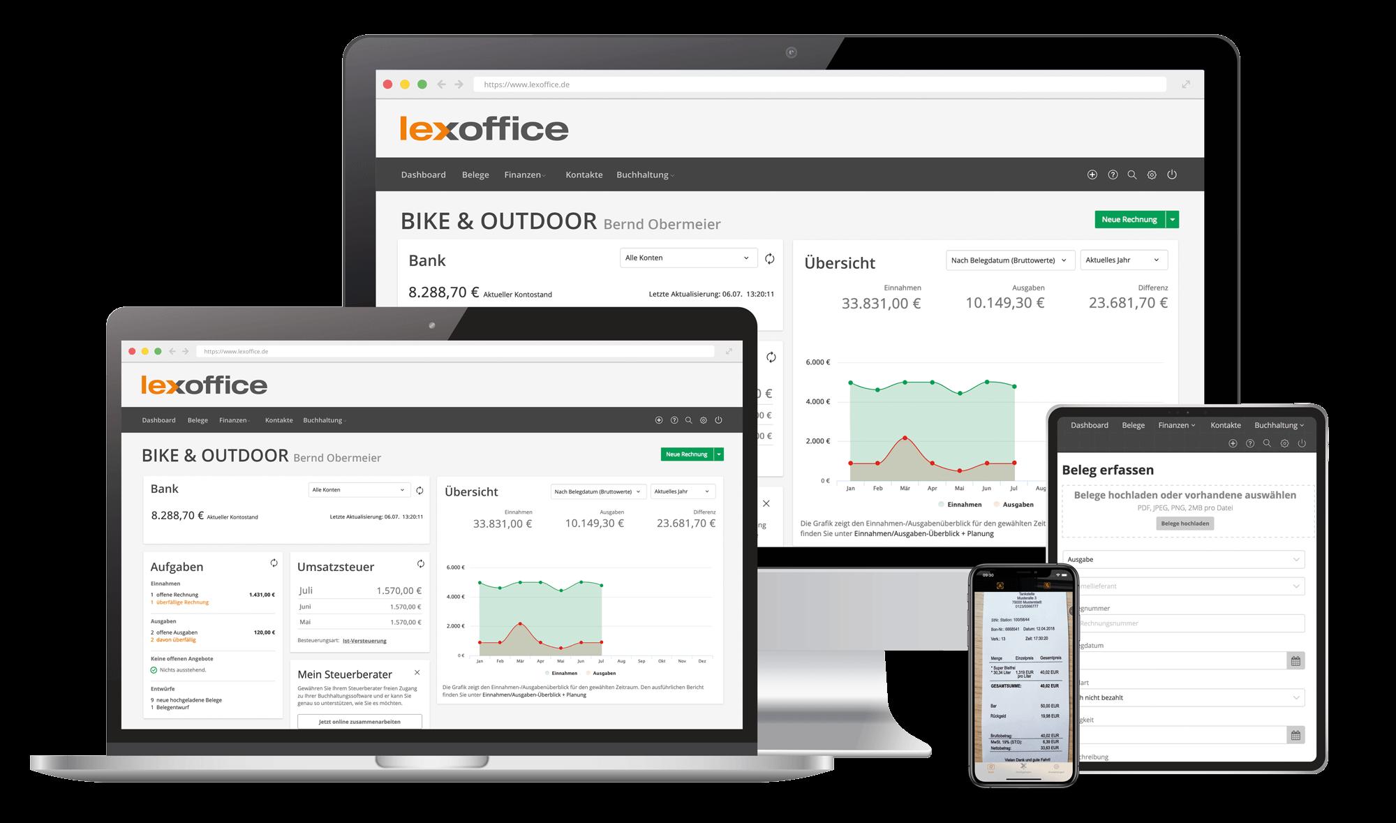Multi Device - Mit lexoffice auf verschiedenen Endgeräten online die Buchhaltung erledigen