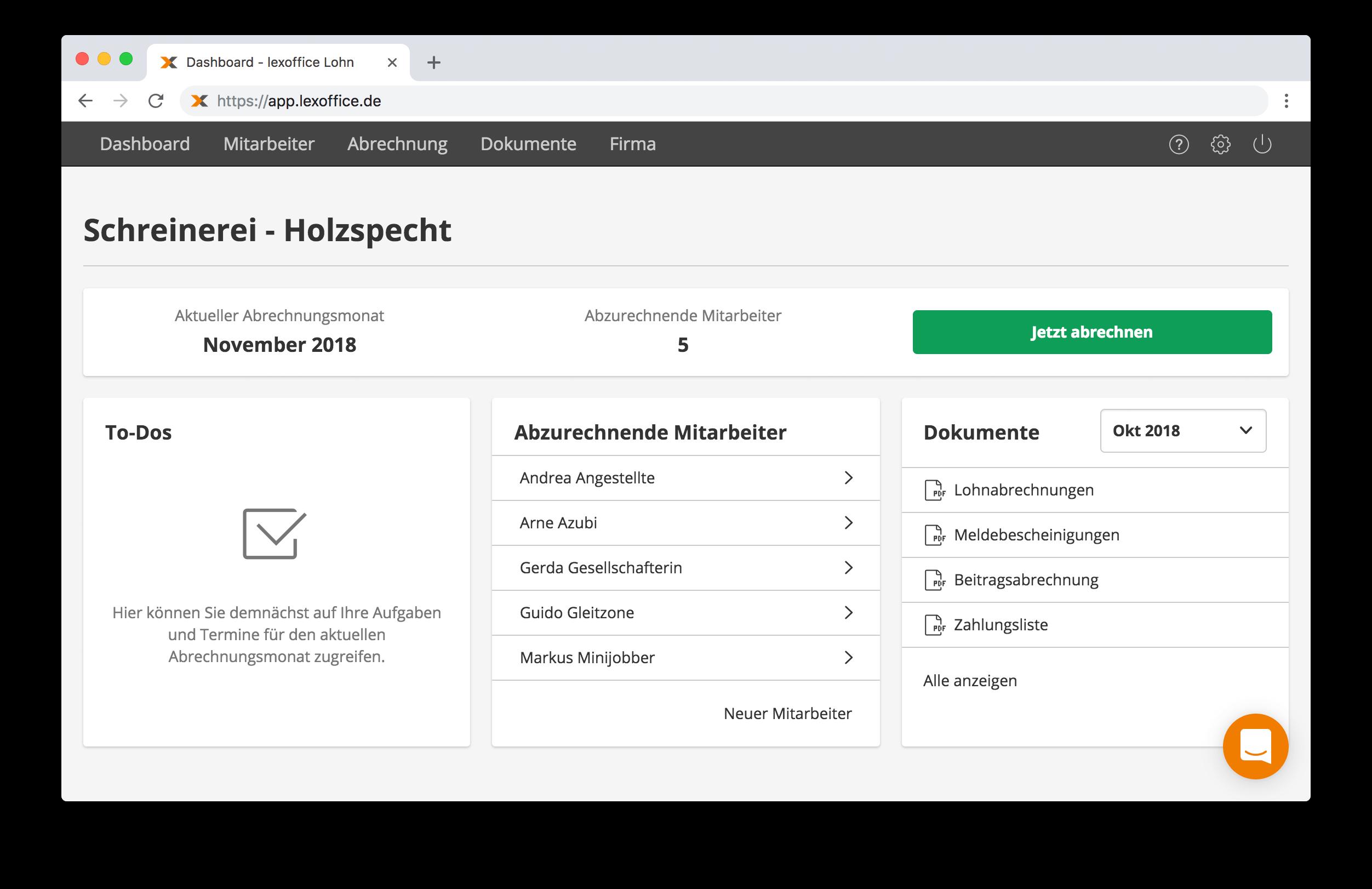 Online Lohnabrechnung von lexoffice: Chef Übersicht / Dashboard