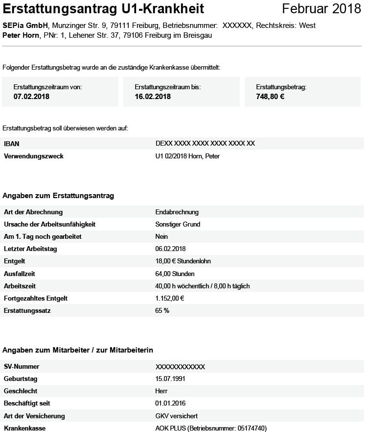 Dokument der Lohnabrechnung: Erstattungsantrag U1