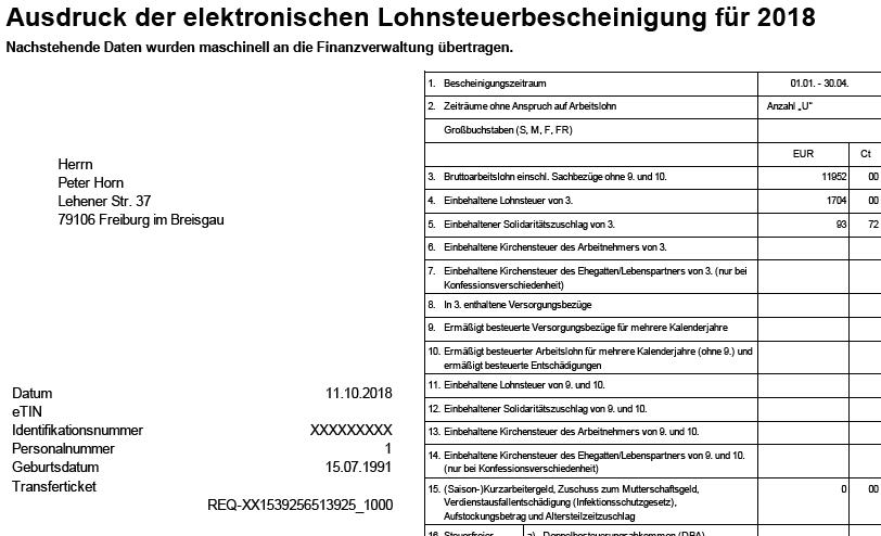 Dokument der Lohnabrechnung: Lohnsteuerbescheinigung