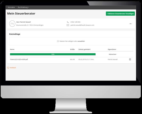 Funktionen Mandanten Steuerberater Dateiablage lexoffice Rechnungsprogramm Buchhaltungssoftware