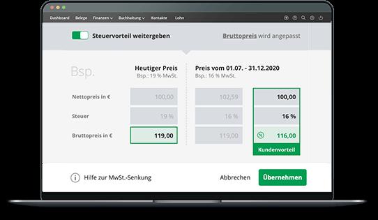 Mehrwertsteuersenkung – Preise mit einem Klick in lexoffice anpassen