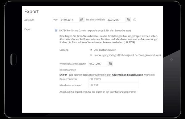 Funktionen Steuerberater datev export lexoffice Rechnungsprogramm Buchhaltungssoftware