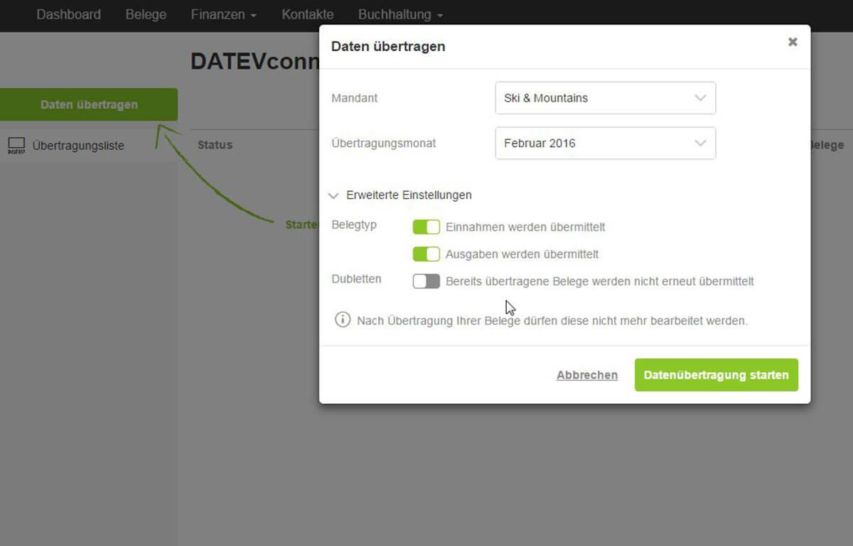 Screenshot DATEVconnect online Start der Datenübertragung aus lexoffice an DATEV