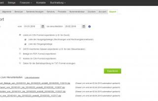 Screenshot Exportmöglichkeiten CSV Export aus lexoffice zum Datenaustausch