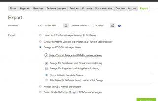 Screenshot Export PDF lexoffice Rechungsprogramm Buchhaltungssoftware