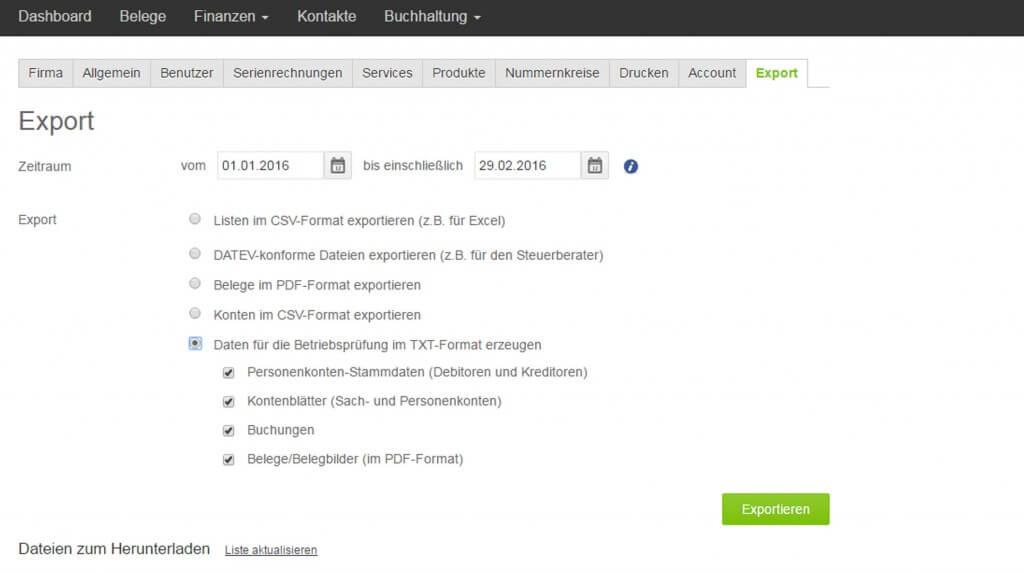 Screenshot Exportmöglichkeiten TXT Export aus lexoffice zum Datenaustausch