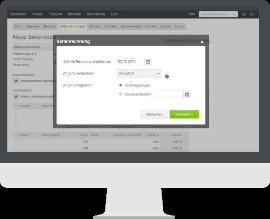 Funktionen Serienrechnung Detail lexoffice Rechnungsprogramm Buchhaltungssoftware