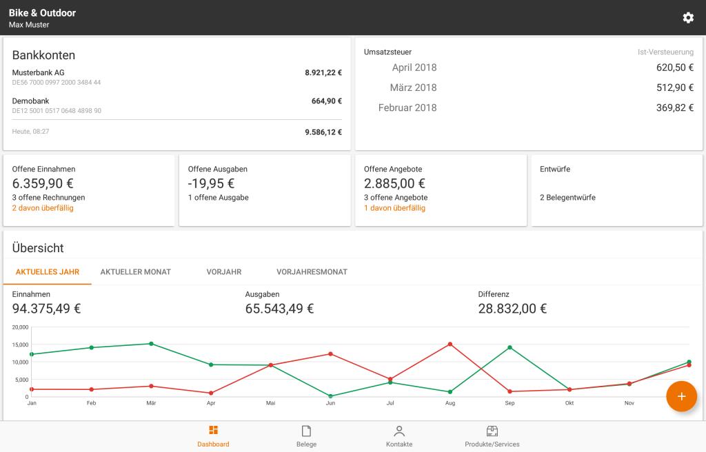 lexoffice auf Androd, die neue Android-App auf dem Tablet