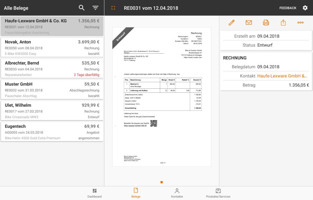 lexoffice auf Android: So sieht die Android-App auf dem Tablet aus